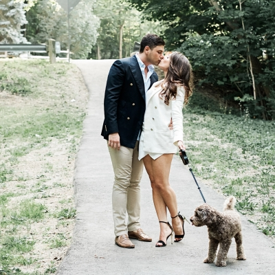 Engagement session with Dog in park