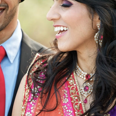 Indian engagement party, bride and groom candid