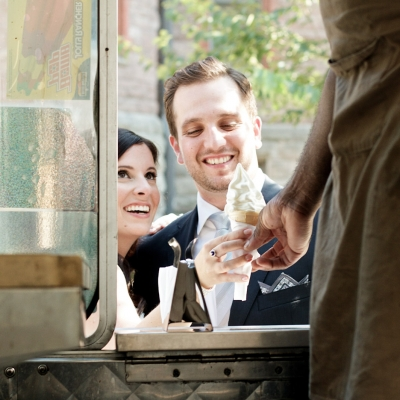 Royal Conservatory of Music Wedding Toronto bride and groom getting ice cream from ice cream truck
