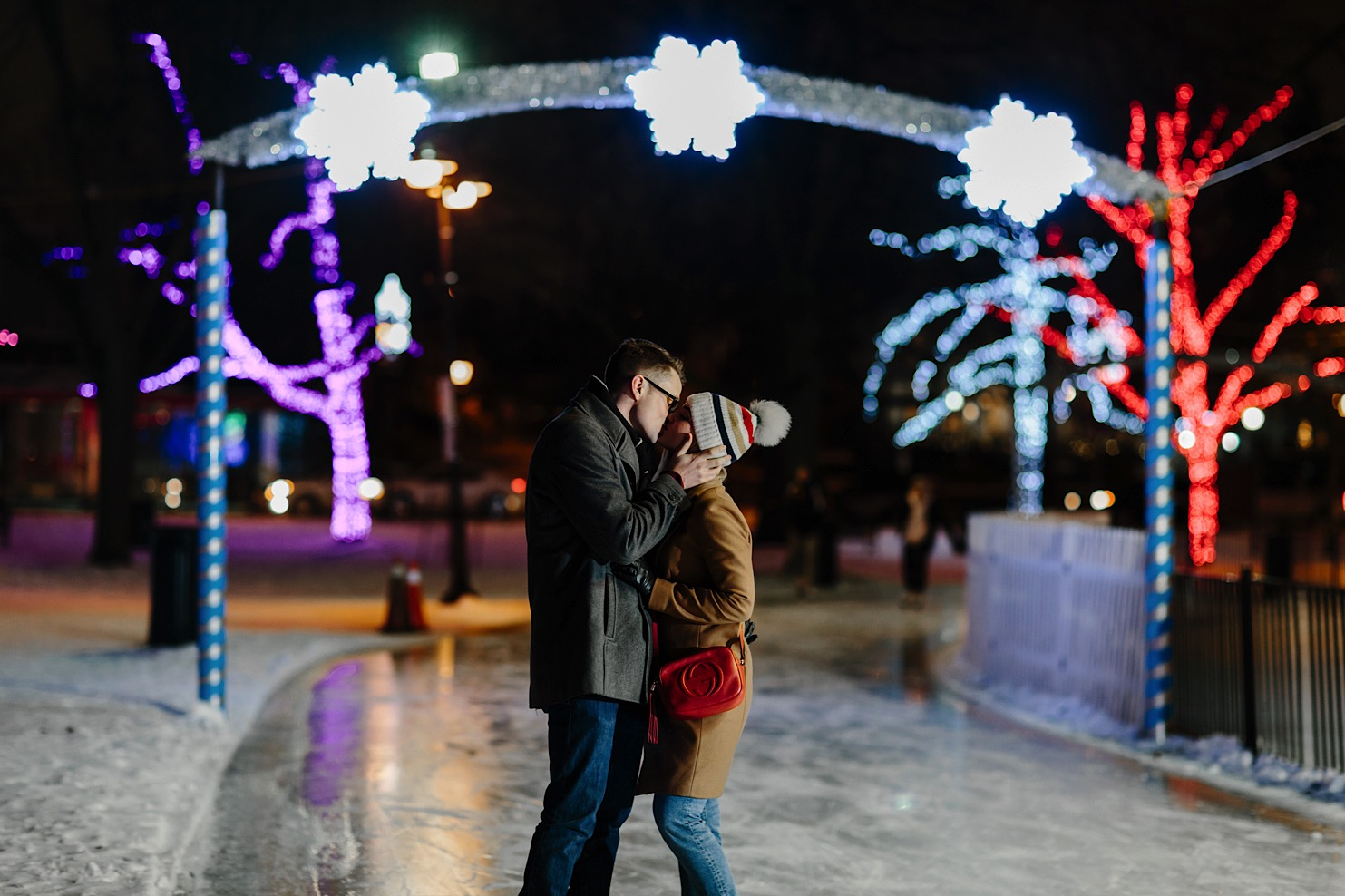 Night Winter Skating Engagement Photos
