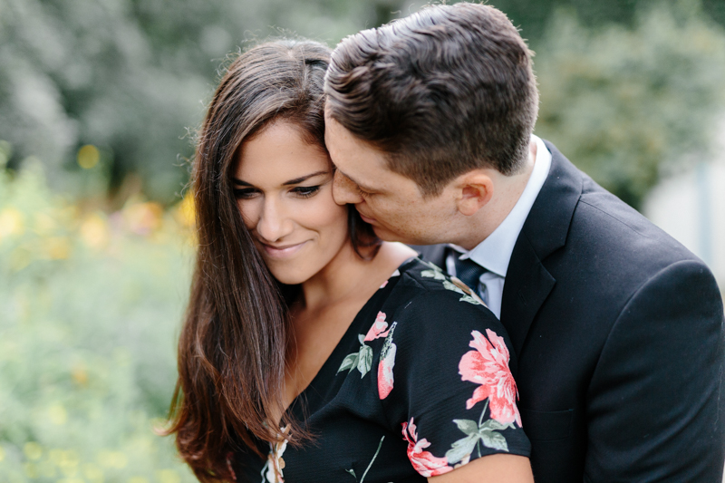 Sweet loving photo of engaged couple at Adamson Estate Engagement Session